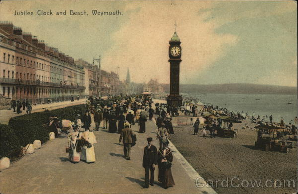 Jubilee Clock and Beach Weymouth England Dorset