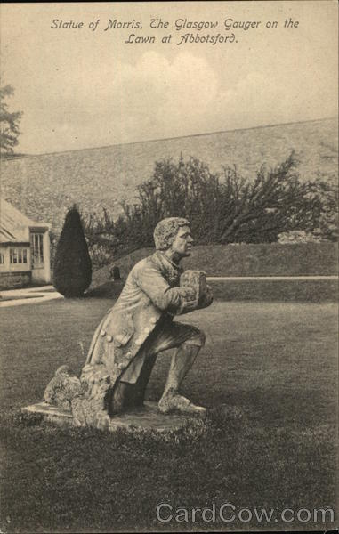 Statue of Morris, the Glasgow Gauger on the Lawn at Abbotsford England