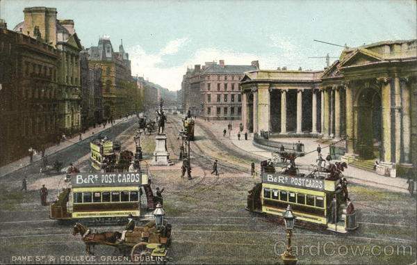 Dame St. & College Green - B&R's Postcard Advertising Dublin Ireland