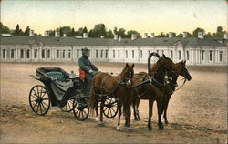 Russian man driving a horse drawn carriage in a courtyard (Vintage Photo)