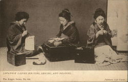 Japanese Ladies Writing, Sewing, and Reading