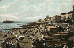 Beach, Beach Goers and Boats Postcard