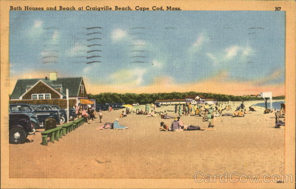 Bath House and Beach at Craigville Beach Cape Cod Massachusetts