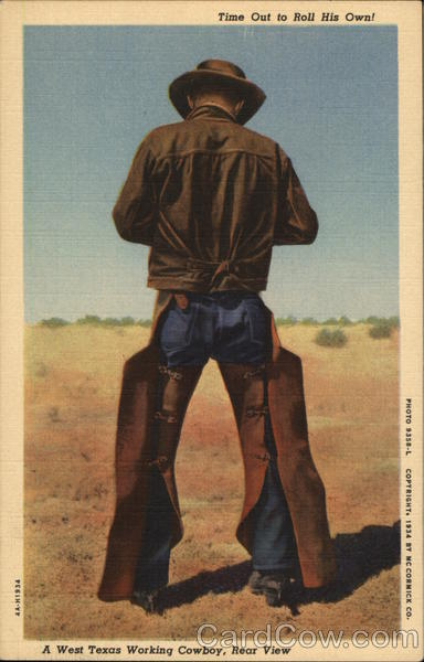 Time Out to Roll His Own! A West Texas Working Cowboy, Rear View