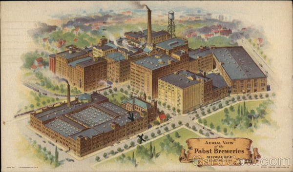 Aerial View of Pabst Breweries Milwaukee Wisconsin