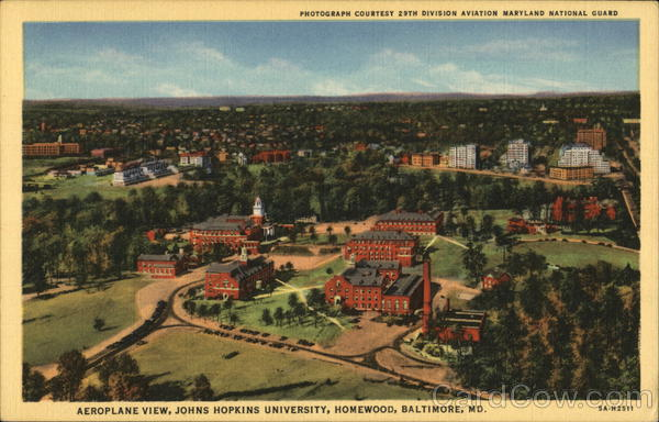 Aeroplane View, Johns Hopkins University, Homewood Baltimore Maryland