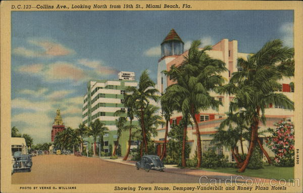 Collins Avenue Looking North from 19th Street Miami Beach Florida