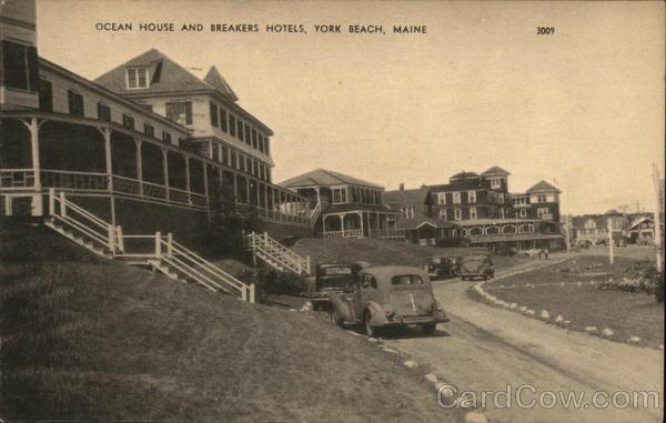 Ocean City Hotels >> Ocean House and Breakers Hotels York Beach, ME Postcard