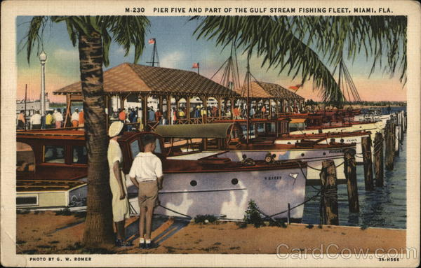 Pier Five and Part of Gulf Stream Fishing Fleet Miami Florida