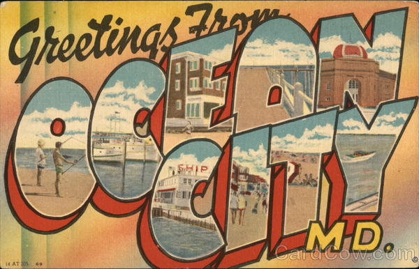 Greetings from Ocean City, MD Maryland Large Letter