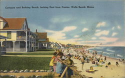 Cottages and Bathing Beach, Looking East from Casino, Wells Beach, Maine