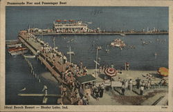 Promenade Pier and Passenger Boat, Ideal Beach, Shafer Lake