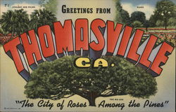 Greetings from Thomasville, GA The city of roses among the pines