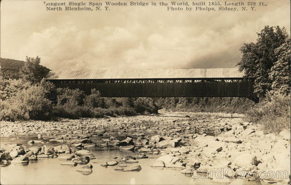 Longest Single Span Wooden Bridge in the World, Built 1855, Length 228 ft. North Blenheim New York