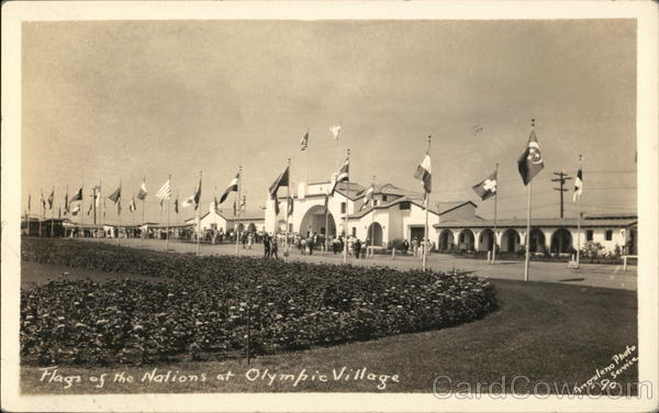 1936 Flags of Nations at Olympic Village Los Angeles California