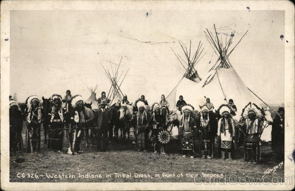 Western Indians in Tribal Dress in Front of Teepees
