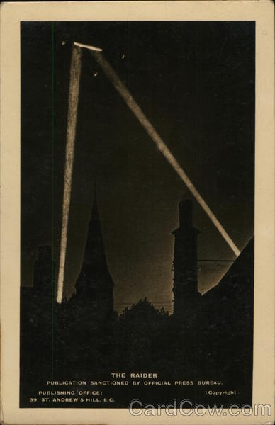 Searchlights in the sky at night - The Raider, a publication sanctioned by Official Press Bureau. England