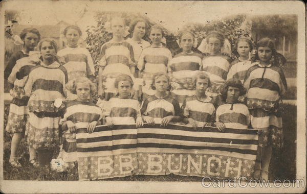 B.B. Bunch - Group of young girls dressed in stars and stripes holding banner