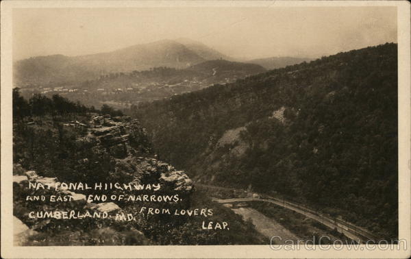 National Highway and East End of Narrows from Lover's Leap Cumberland Maryland