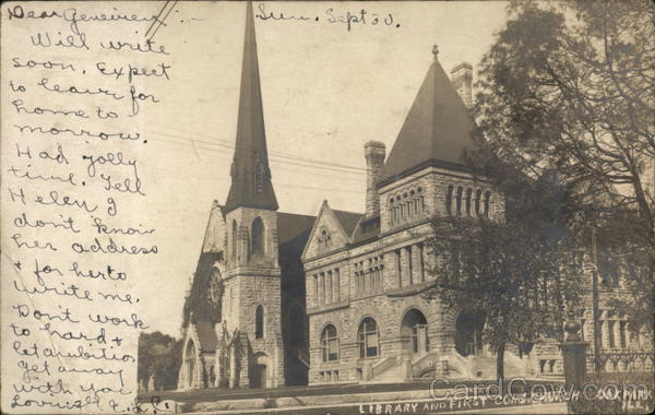 Library and First Congregational Church Oak Park Illinois