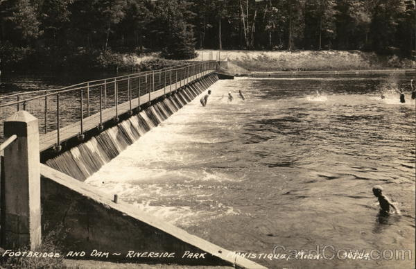 Riverside Park - Footbridge and Dam Manistique Michigan