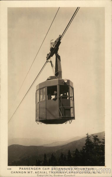 Passenger Car Ascending Mountain, Cannon Mount Aerial Tranway Franconia New Hampshire