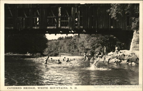 Covered Bridge and Swimming Hole North Conway, NH Postcard