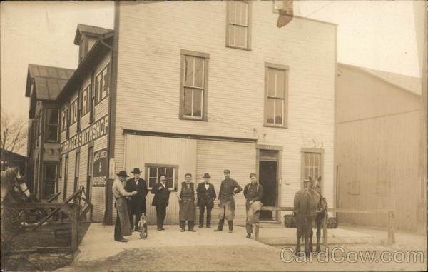 Men Outside Carriage & Smithshop (Blacksmith) Buildings