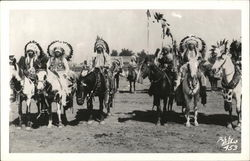 Real Photo - Group of Native Americas on horses