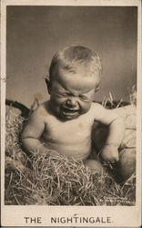 Crying baby sitting in hay The Nightingale Copyright 1907 by Robert McCrum