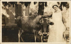 Cow With Dairy Maid And Milking Pail