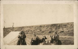 Men at Tent Camp on Donkeys