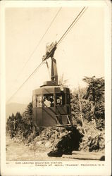 Car Leaving Mountain Station, Cannon Mountain Aerial Tramway Postcard