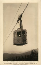 Passenger Car Ascending Mountain, Cannon Mount Aerial Tranway Postcard
