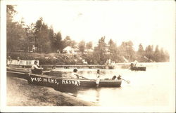 Kids play in Rowboats on the beach and in the lake - Yeschek's Resort Circa 1920