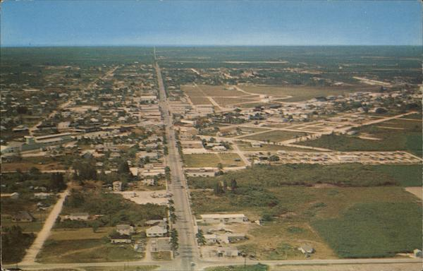 Aerial view of Homestead and the highway that leads to Key West, Fla. Florida