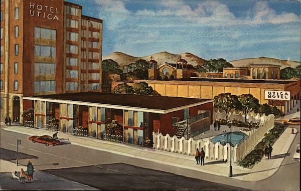 motel and hotel utica new york postcard. Black Bedroom Furniture Sets. Home Design Ideas