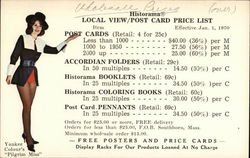 Pilgrim Miss, Yankee Colour Corporation Postcard Price List