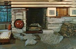 Living Room Fireplace at Fallingwater Postcard