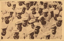 Large group of Sailors looking up at camera smiling