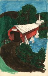 Hand painted scene - Covered bridge in front of a white church Postcard