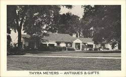 Thyra Meyers - Antiques and Gifts - BW photo of house/store