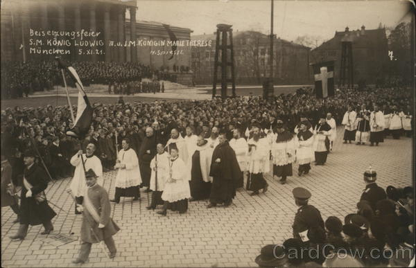 Funeral for King Leopold and Queen Marie Therese in Munich 1921 Germany