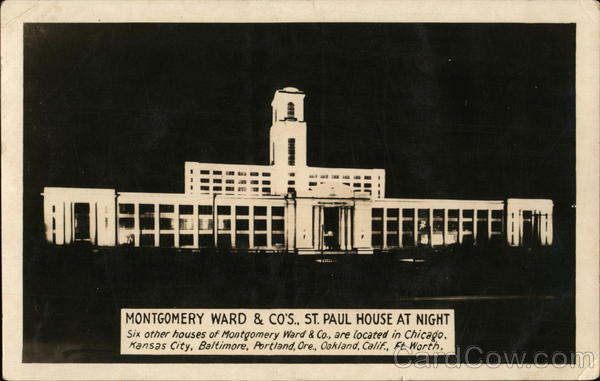 Montgomery Ward & Co's, St. Paul House at Night Minnesota
