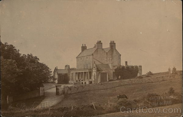 View of a large home - Castle town, Isle of Man early 1900's England