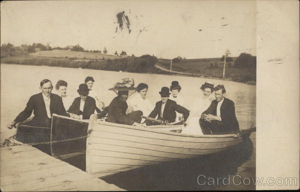 A group of people in three Row boats Circa 1909 Canoes & Rowboats