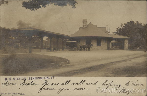 Railroad Station with Carriage & Horse Bennington Vermont