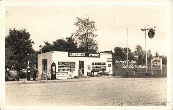 Lakeside Store and Gas station - School Lake Brighton Michigan