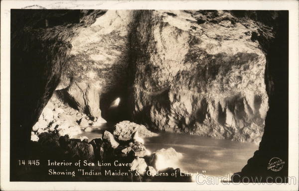 Interior of Sea Lion Caves Showing Indian Maiden and Goddess of Liberty Florence Oregon