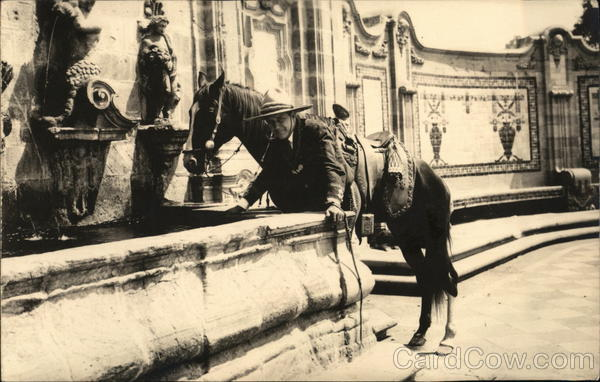 A man stands with a horse in front of a fountain - Mexico City
